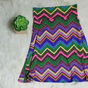 LulaRoe Neon Zig Zag Bright Azure Skirt Medium